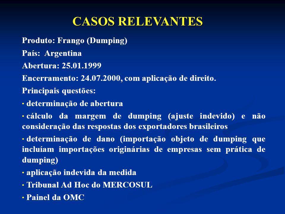 CASOS RELEVANTES Produto: Frango (Dumping) País: Argentina