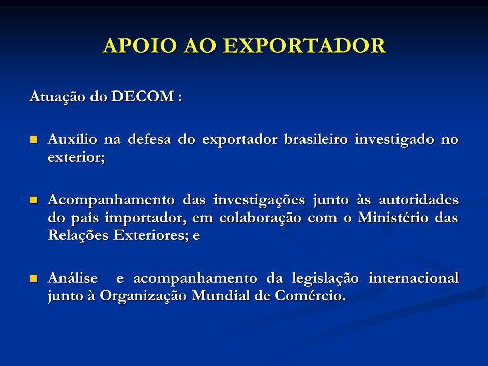 APOIO AO EXPORTADOR Atuação do DECOM :
