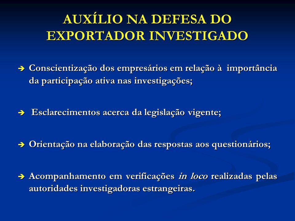 AUXÍLIO NA DEFESA DO EXPORTADOR INVESTIGADO