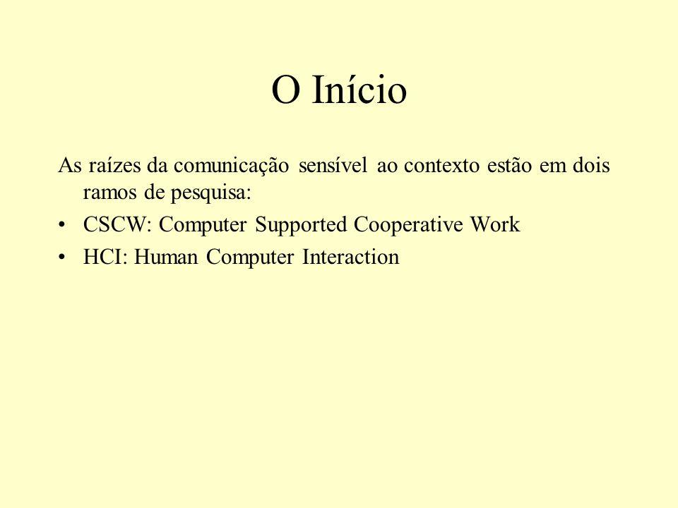 O Início As raízes da comunicação sensível ao contexto estão em dois ramos de pesquisa: CSCW: Computer Supported Cooperative Work.