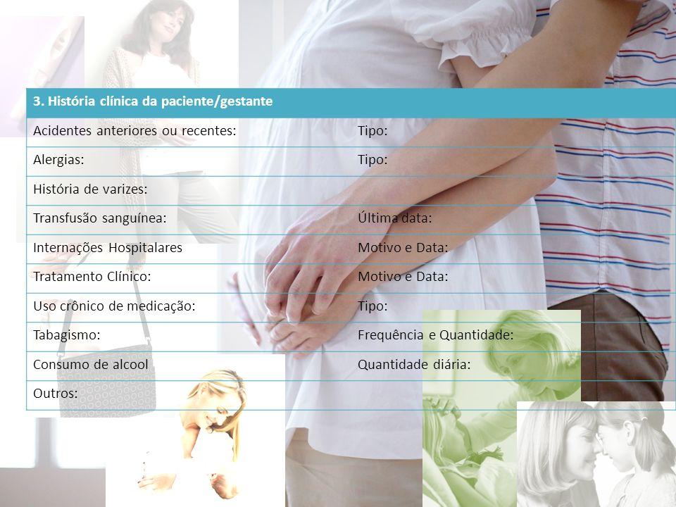3. História clínica da paciente/gestante