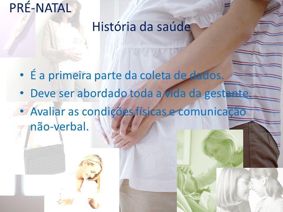 PRÉ-NATAL História da saúde É a primeira parte da coleta de dados.