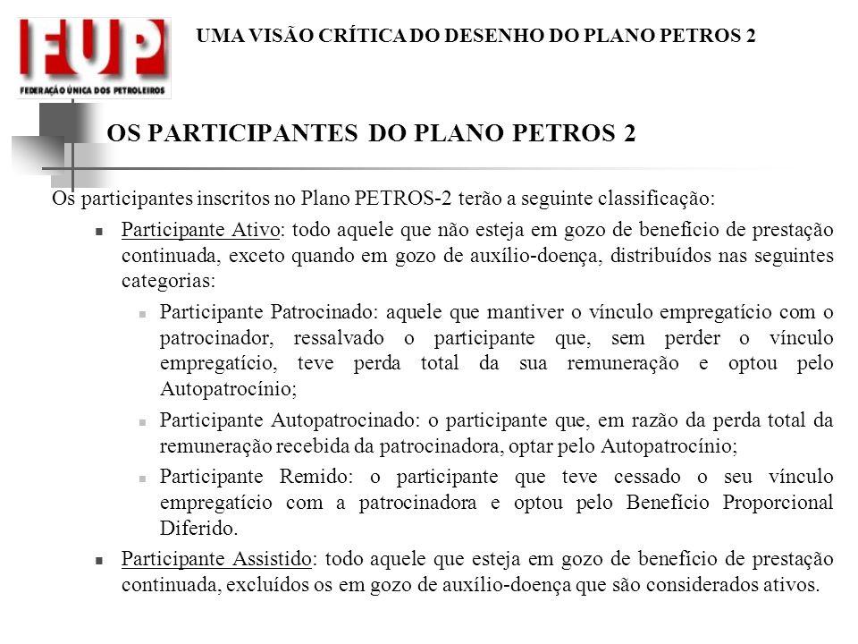 OS PARTICIPANTES DO PLANO PETROS 2