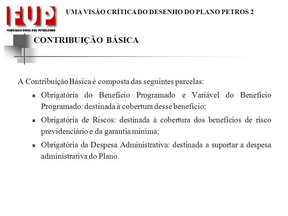 CONTRIBUIÇÃO BÁSICA A Contribuição Básica é composta das seguintes parcelas: