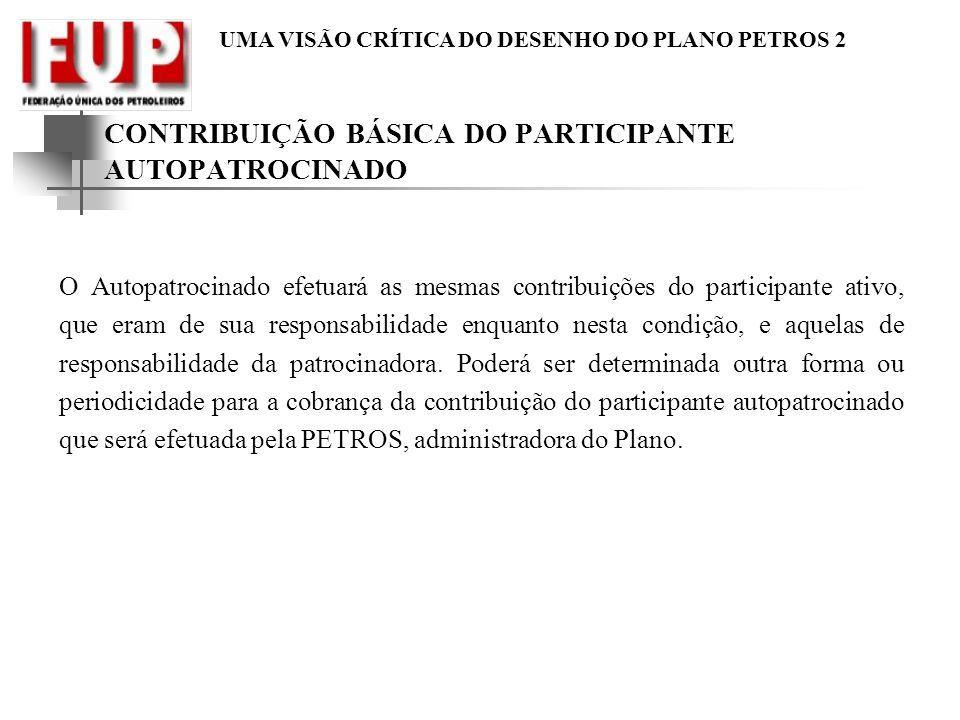 CONTRIBUIÇÃO BÁSICA DO PARTICIPANTE AUTOPATROCINADO