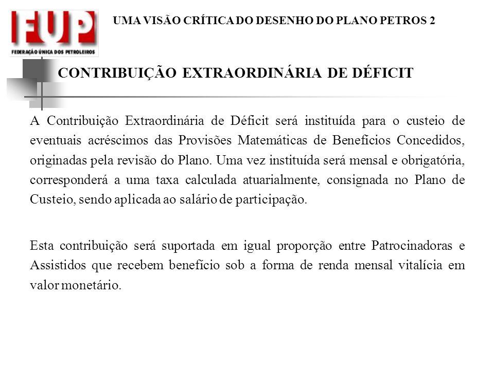 CONTRIBUIÇÃO EXTRAORDINÁRIA DE DÉFICIT