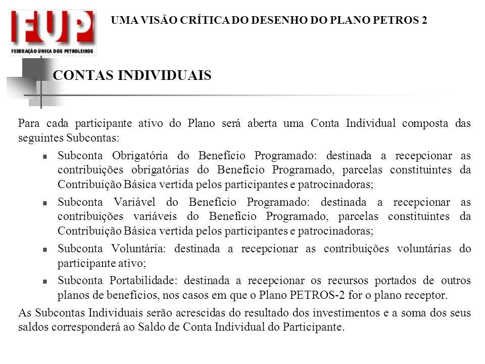 CONTAS INDIVIDUAIS Para cada participante ativo do Plano será aberta uma Conta Individual composta das seguintes Subcontas: