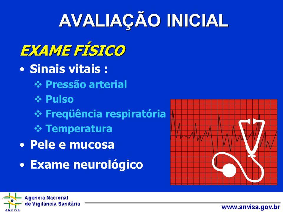 AVALIAÇÃO INICIAL EXAME FÍSICO Sinais vitais : Pele e mucosa
