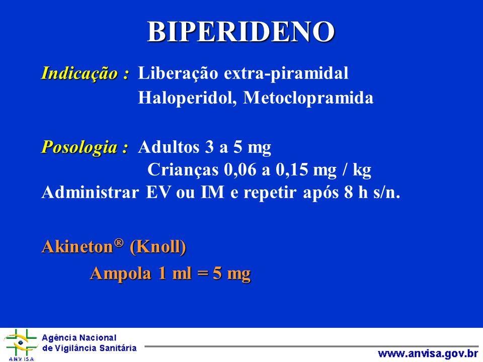 BIPERIDENO Indicação : Liberação extra-piramidal
