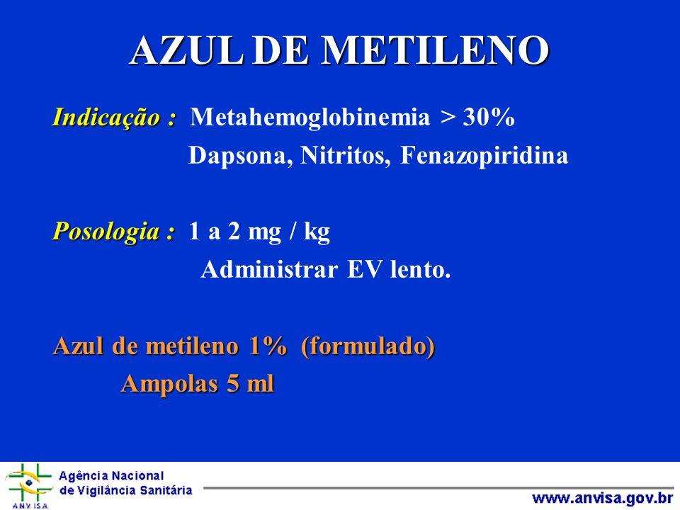 AZUL DE METILENO Indicação : Metahemoglobinemia > 30%