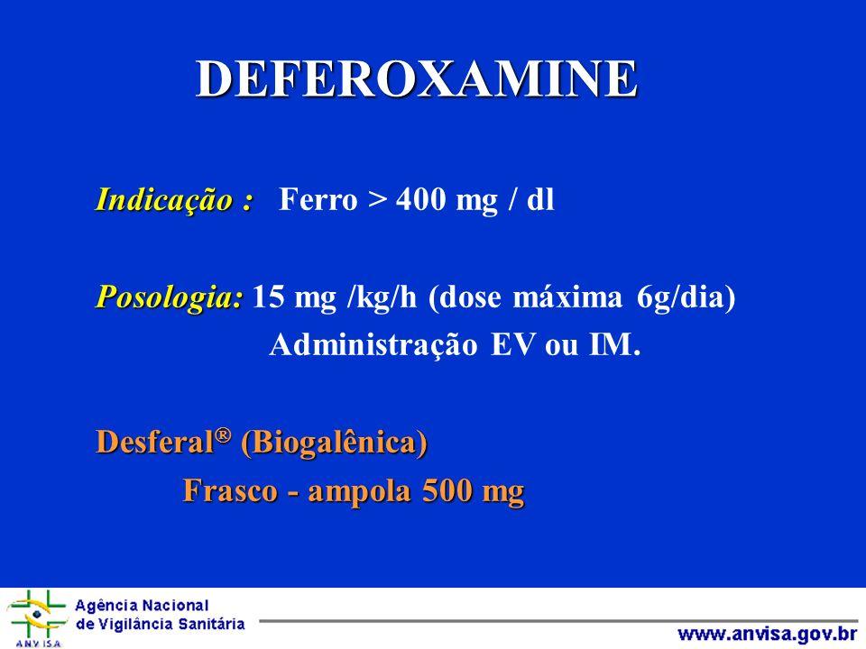 DEFEROXAMINE Indicação : Ferro > 400 mg / dl