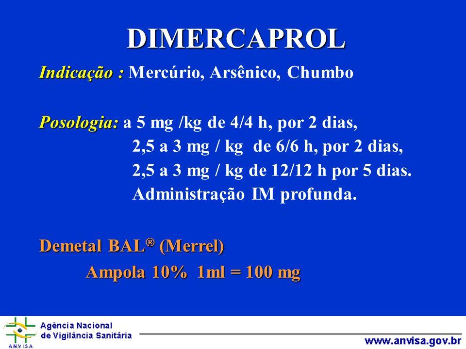 DIMERCAPROL Indicação : Mercúrio, Arsênico, Chumbo