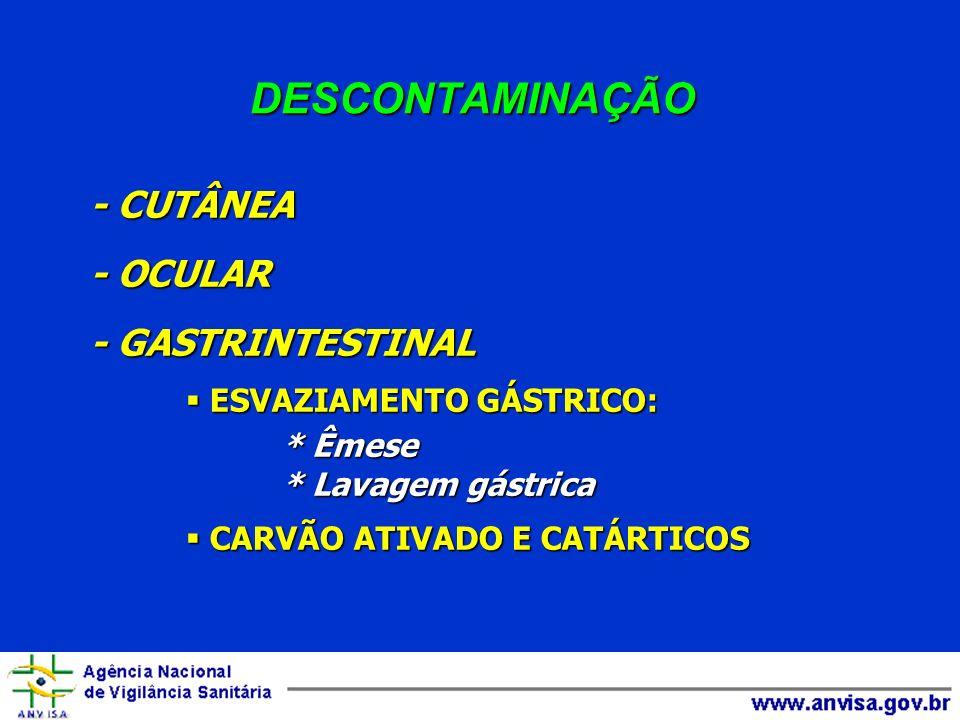 DESCONTAMINAÇÃO - CUTÂNEA - OCULAR - GASTRINTESTINAL