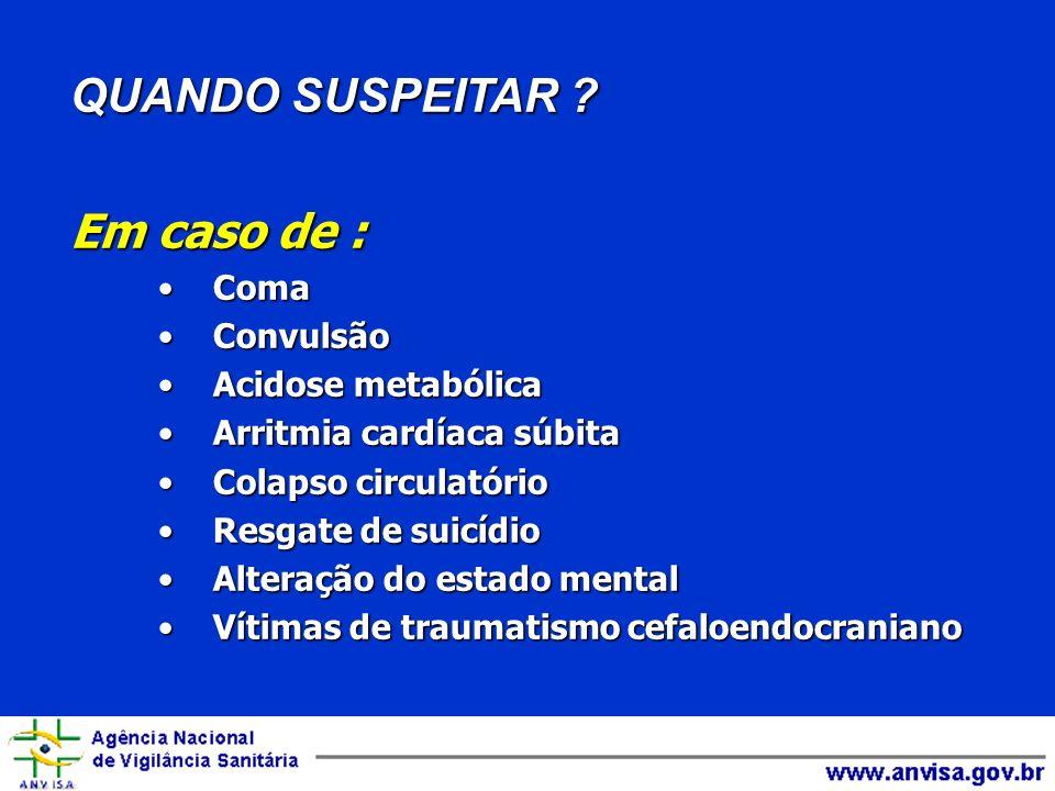 QUANDO SUSPEITAR Em caso de : Coma Convulsão Acidose metabólica