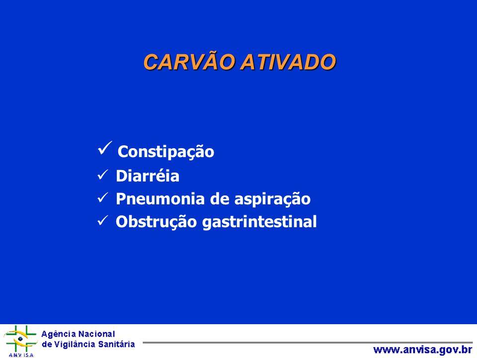 CARVÃO ATIVADO Constipação Complicações da utilização Diarréia
