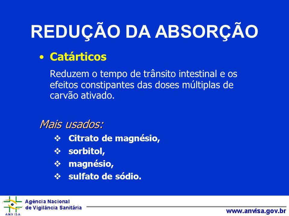 REDUÇÃO DA ABSORÇÃO Catárticos. Reduzem o tempo de trânsito intestinal e os efeitos constipantes das doses múltiplas de carvão ativado.