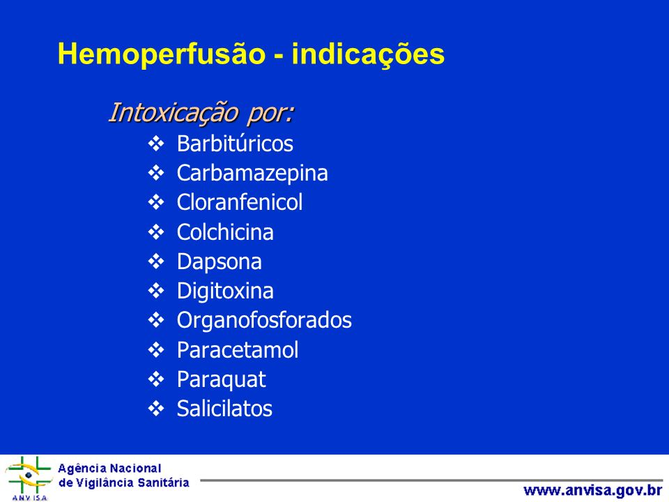 Hemoperfusão - indicações