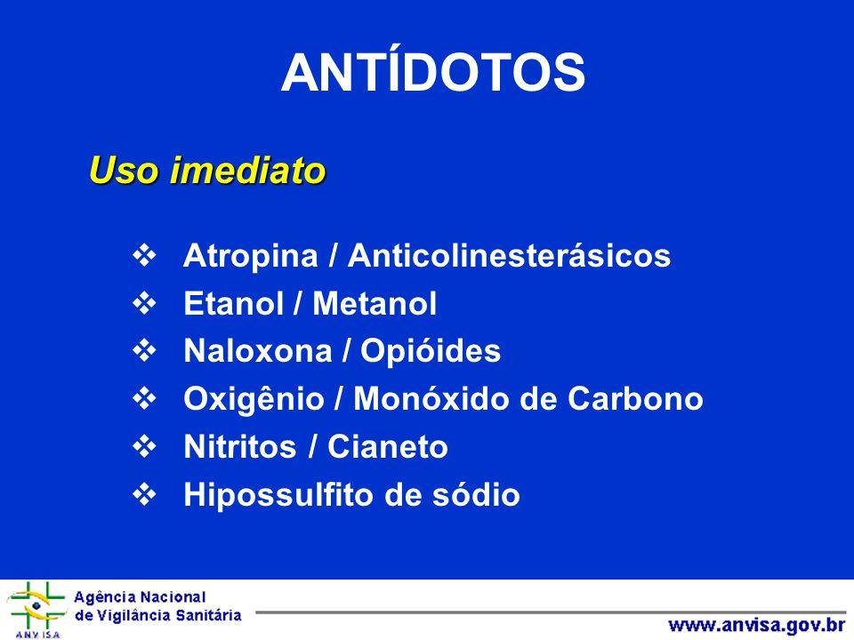 ANTÍDOTOS Uso imediato Atropina / Anticolinesterásicos
