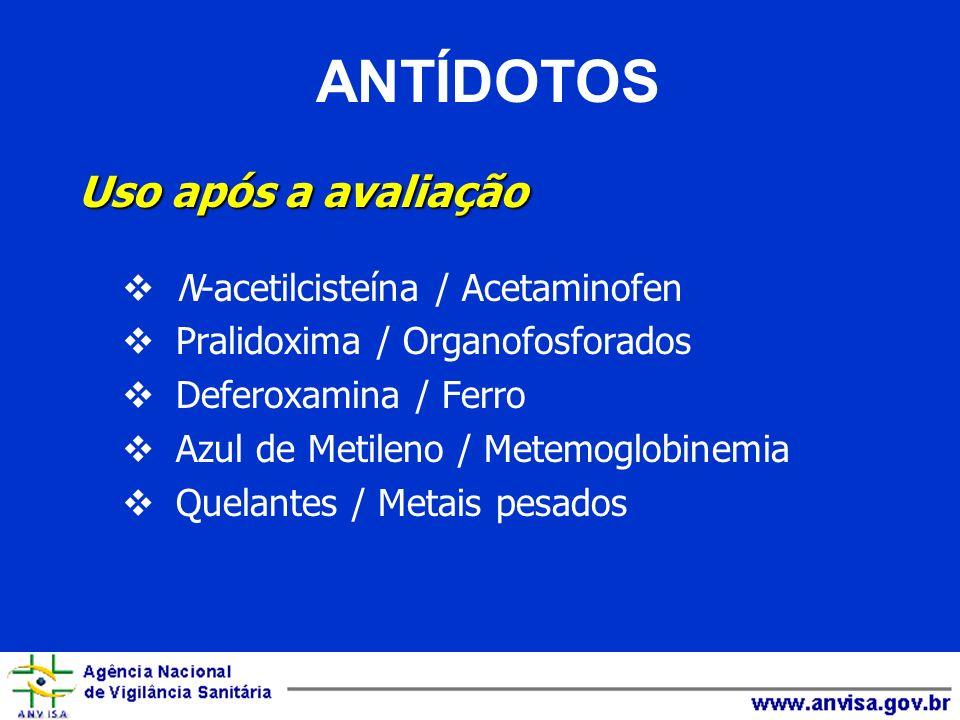 ANTÍDOTOS Uso após a avaliação N-acetilcisteína / Acetaminofen