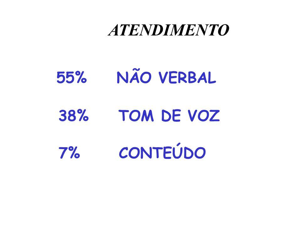 ATENDIMENTO 55% NÃO VERBAL 38% TOM DE VOZ 7% CONTEÚDO