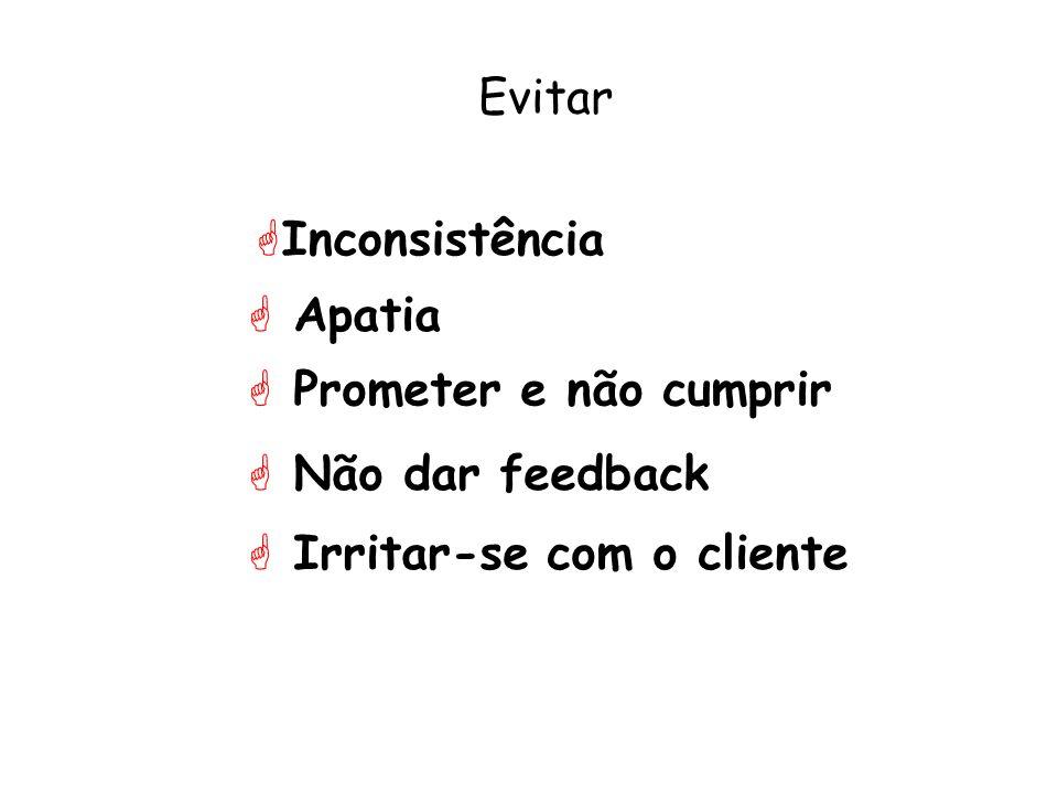Evitar Inconsistência Apatia Prometer e não cumprir Não dar feedback Irritar-se com o cliente