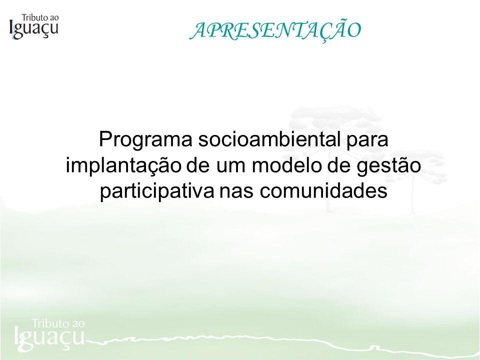 APRESENTAÇÃO Programa socioambiental para implantação de um modelo de gestão participativa nas comunidades.