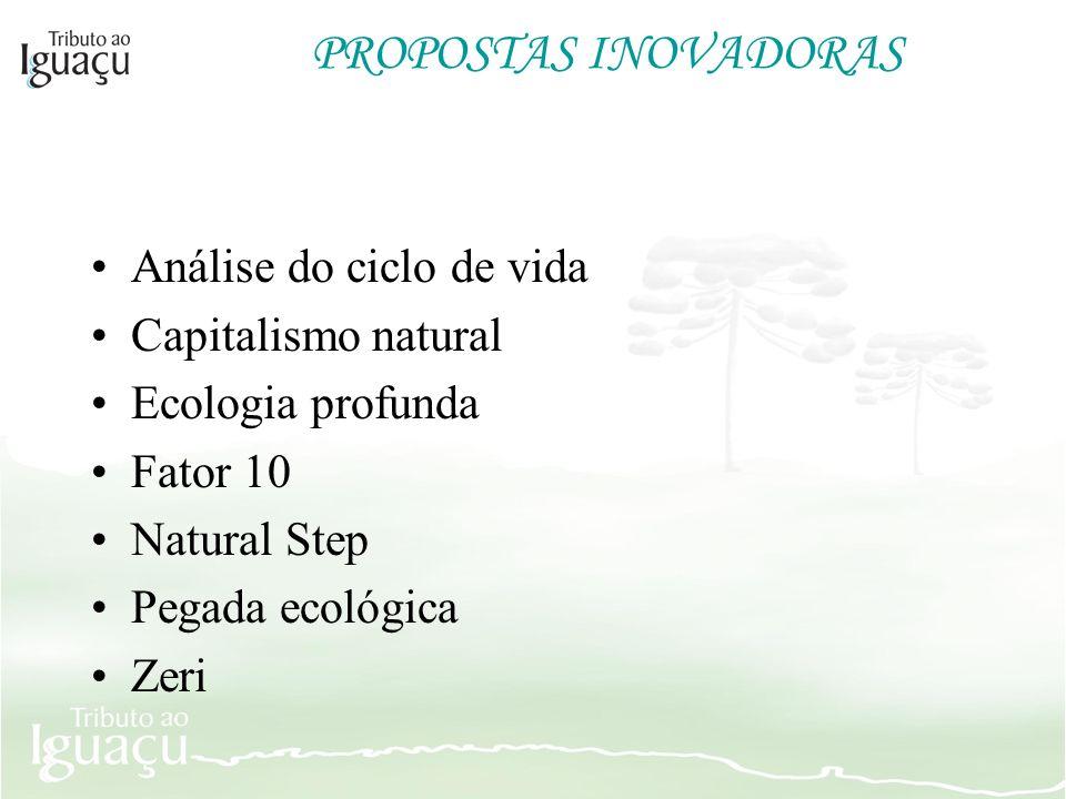 PROPOSTAS INOVADORAS Análise do ciclo de vida Capitalismo natural