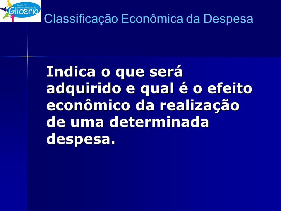Classificação Econômica da Despesa