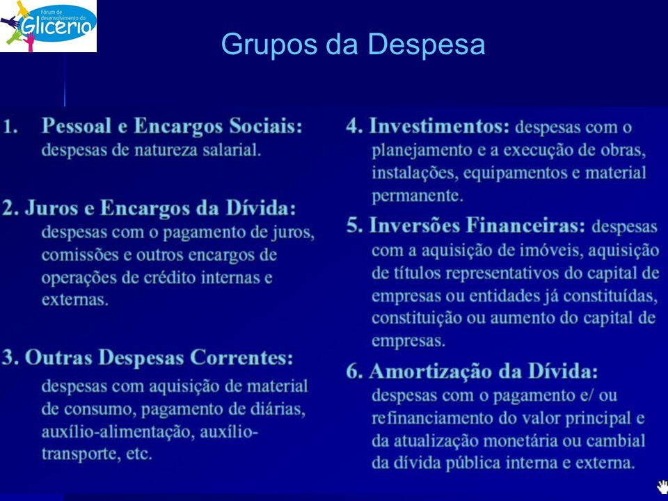 Grupos da Despesa