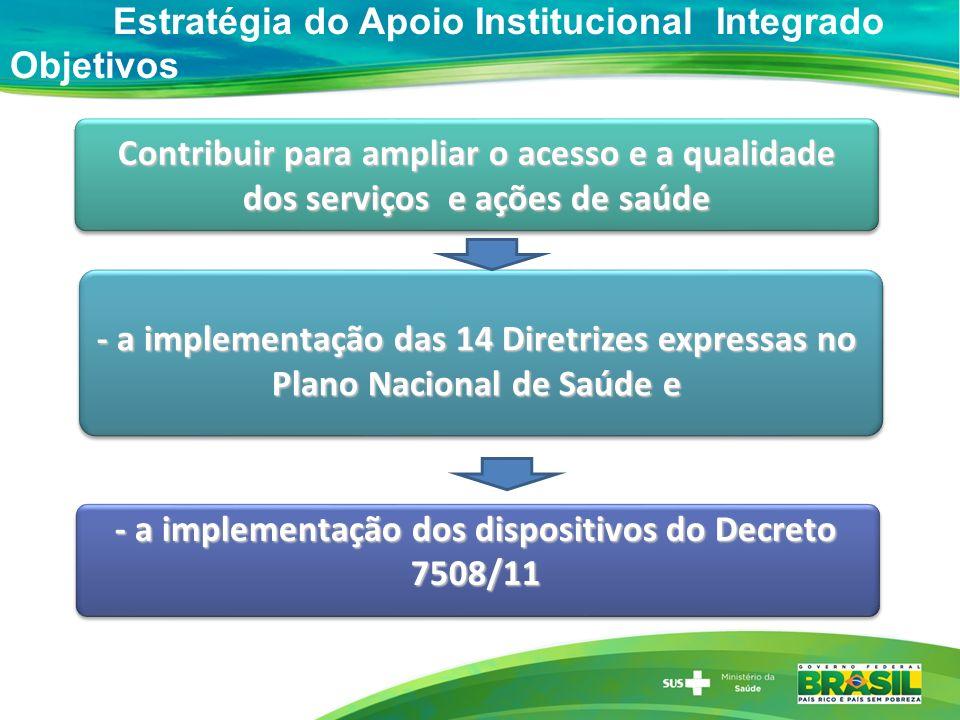 - a implementação dos dispositivos do Decreto 7508/11
