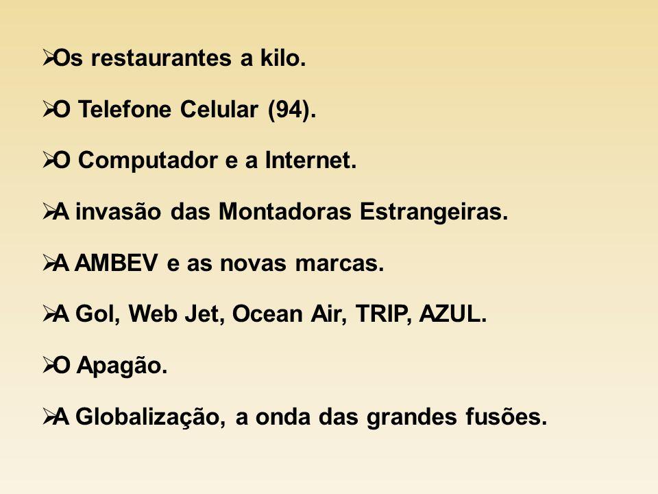 Os restaurantes a kilo. O Telefone Celular (94). O Computador e a Internet. A invasão das Montadoras Estrangeiras.