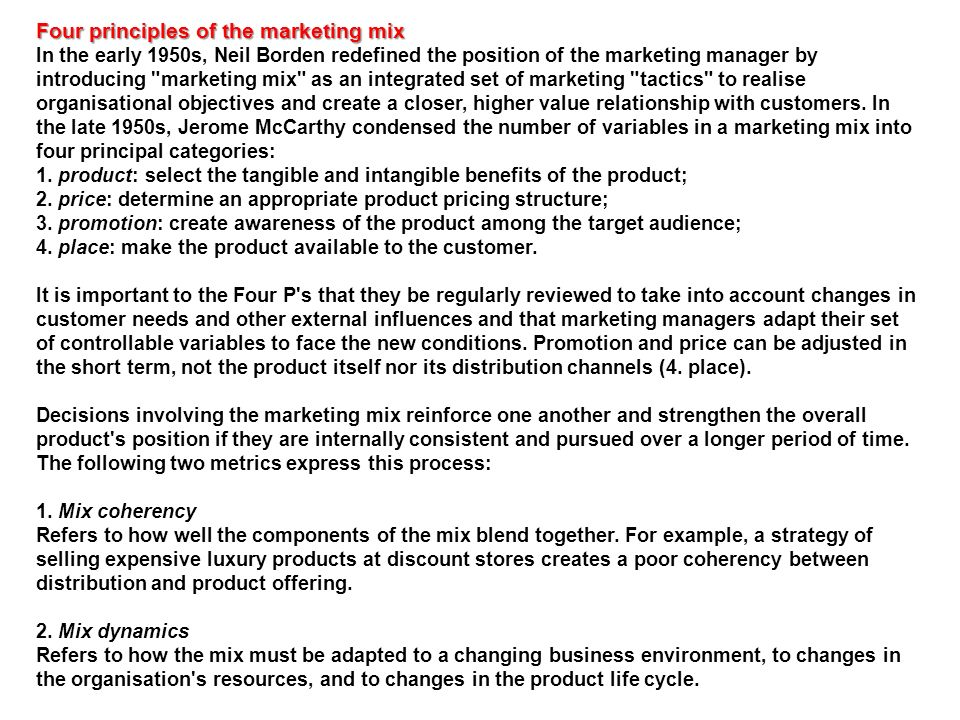 Four principles of the marketing mix