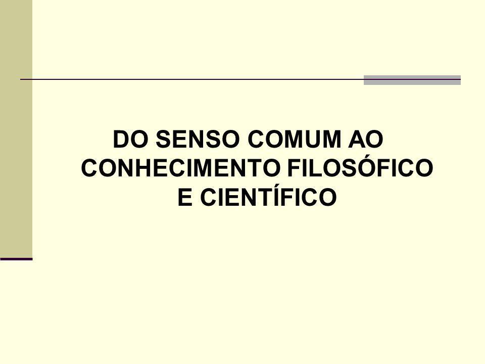 DO SENSO COMUM AO CONHECIMENTO FILOSÓFICO E CIENTÍFICO