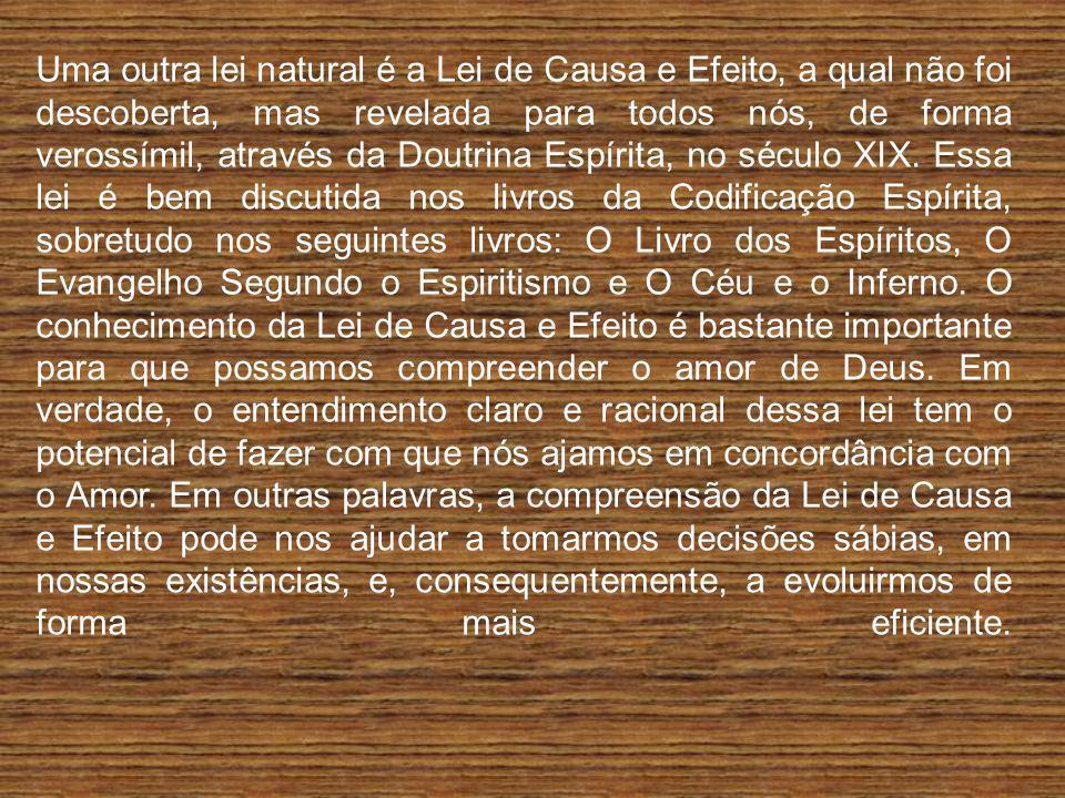 Uma outra lei natural é a Lei de Causa e Efeito, a qual não foi descoberta, mas revelada para todos nós, de forma verossímil, através da Doutrina Espírita, no século XIX.