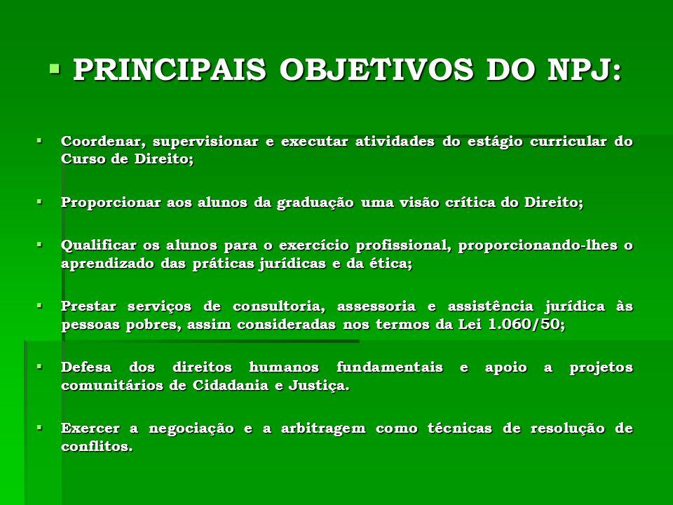 PRINCIPAIS OBJETIVOS DO NPJ: