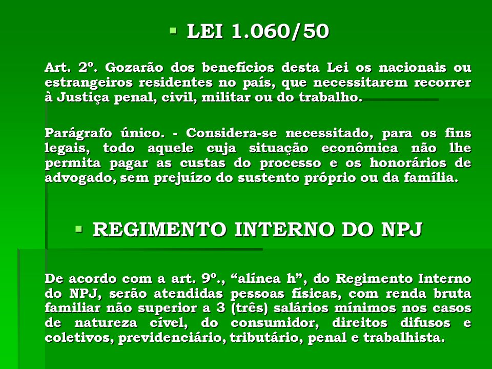 REGIMENTO INTERNO DO NPJ