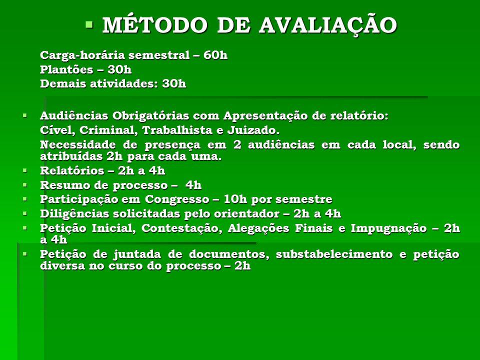 MÉTODO DE AVALIAÇÃO Carga-horária semestral – 60h Plantões – 30h