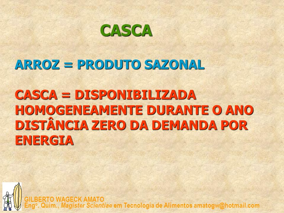 CASCA ARROZ = PRODUTO SAZONAL CASCA = DISPONIBILIZADA HOMOGENEAMENTE DURANTE O ANO DISTÂNCIA ZERO DA DEMANDA POR ENERGIA