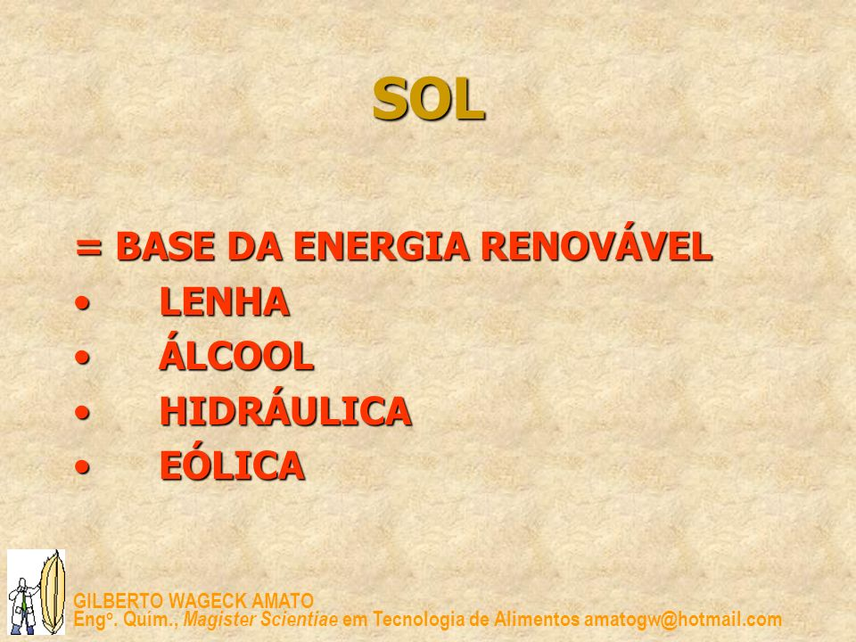 SOL = BASE DA ENERGIA RENOVÁVEL LENHA ÁLCOOL HIDRÁULICA EÓLICA
