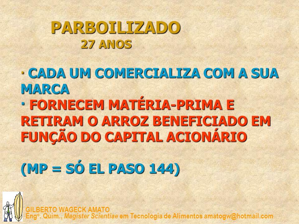 PARBOILIZADO 27 ANOS · CADA UM COMERCIALIZA COM A SUA MARCA · FORNECEM MATÉRIA-PRIMA E RETIRAM O ARROZ BENEFICIADO EM FUNÇÃO DO CAPITAL ACIONÁRIO (MP = SÓ EL PASO 144)