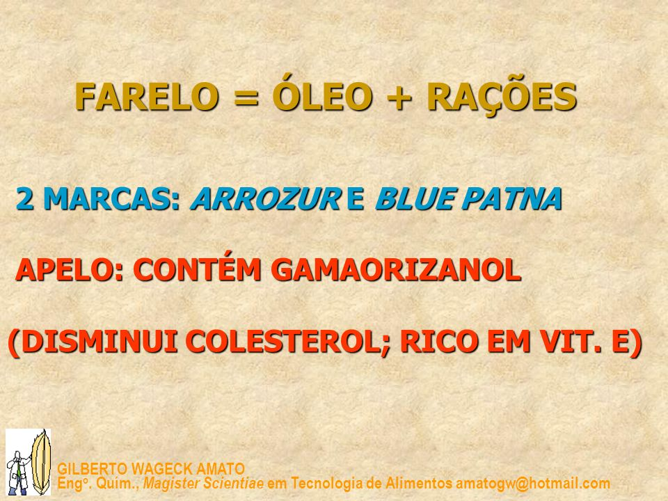 FARELO = ÓLEO + RAÇÕES 2 MARCAS: ARROZUR E BLUE PATNA APELO: CONTÉM GAMAORIZANOL (DISMINUI COLESTEROL; RICO EM VIT.