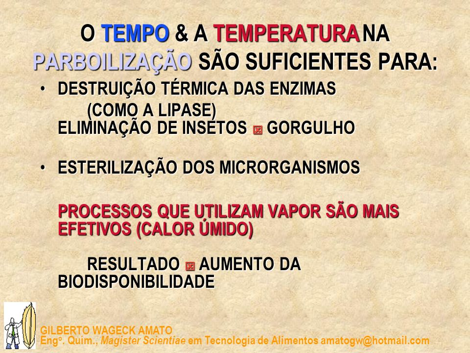 O TEMPO & A TEMPERATURA NA PARBOILIZAÇÃO SÃO SUFICIENTES PARA:
