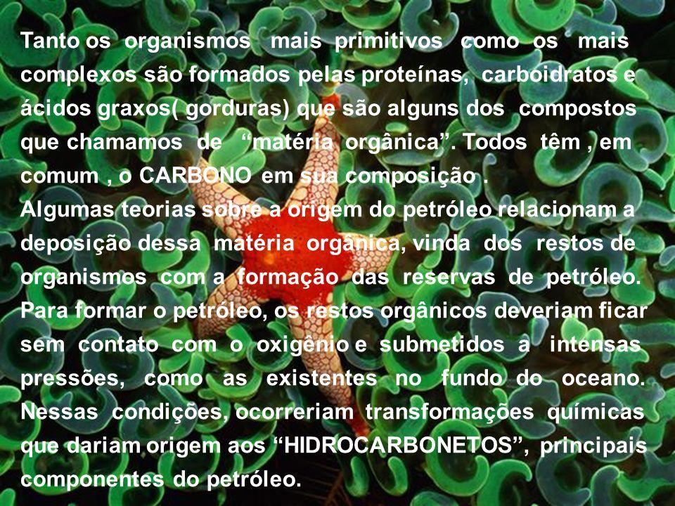 Tanto os organismos mais primitivos como os mais complexos são formados pelas proteínas, carboidratos e ácidos graxos( gorduras) que são alguns dos compostos que chamamos de matéria orgânica . Todos têm , em comum , o CARBONO em sua composição .