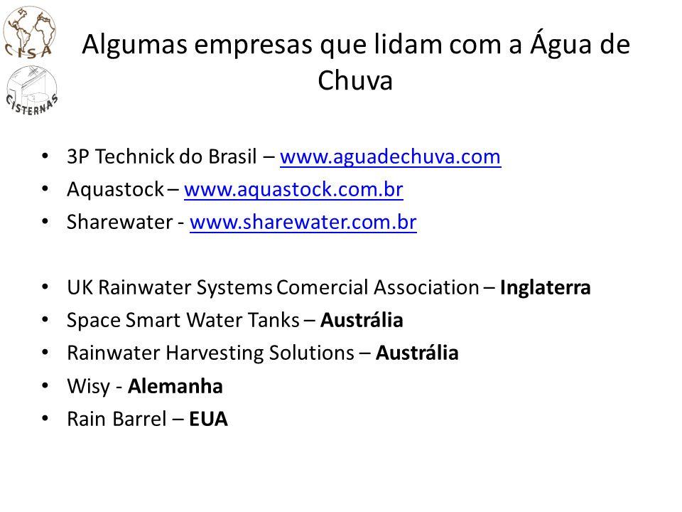 Algumas empresas que lidam com a Água de Chuva