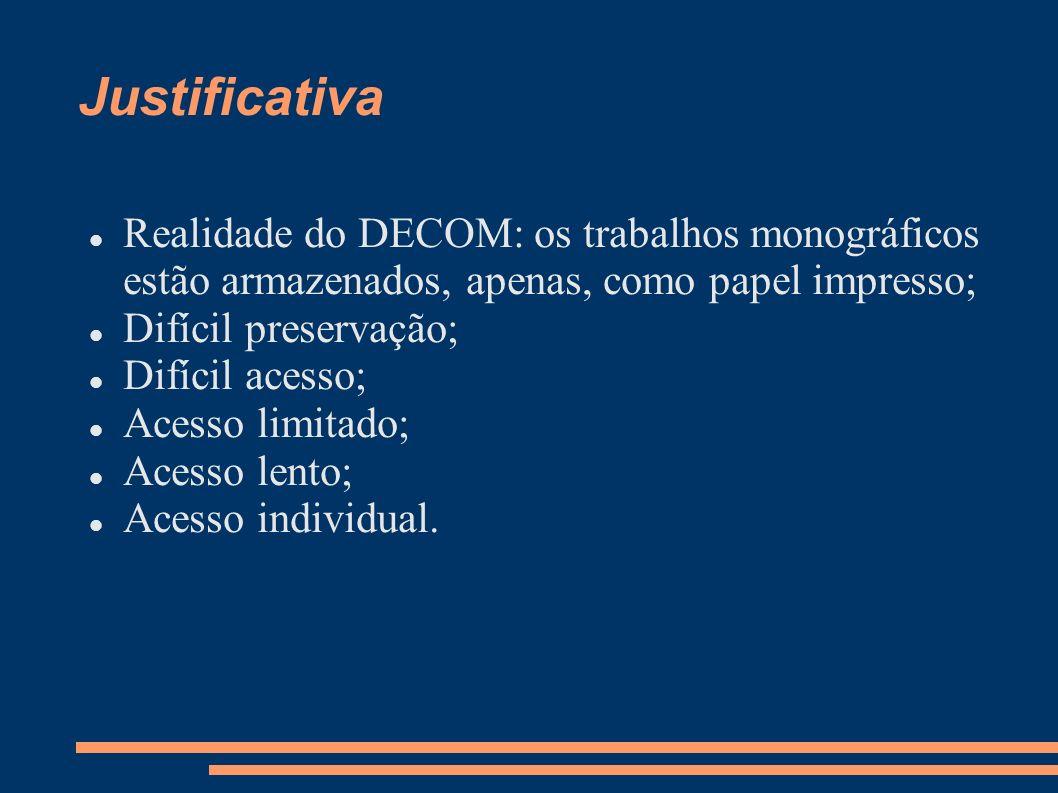 Justificativa Realidade do DECOM: os trabalhos monográficos estão armazenados, apenas, como papel impresso;
