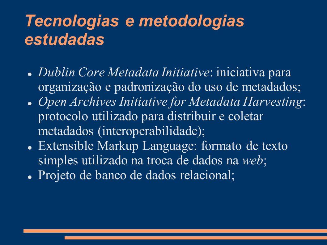 Tecnologias e metodologias estudadas