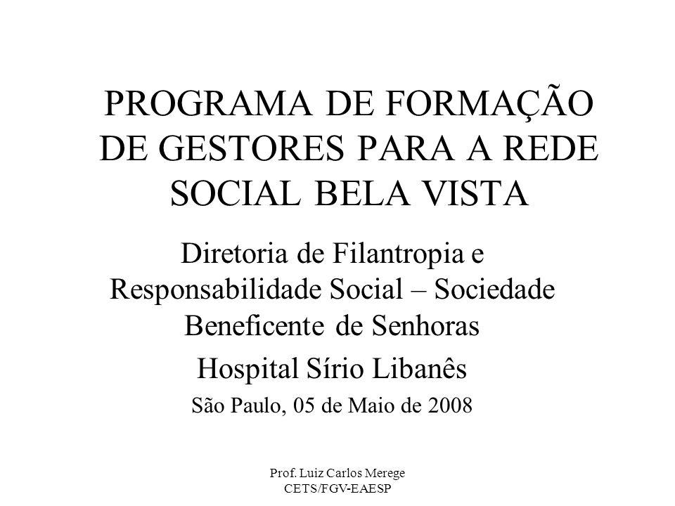 PROGRAMA DE FORMAÇÃO DE GESTORES PARA A REDE SOCIAL BELA VISTA