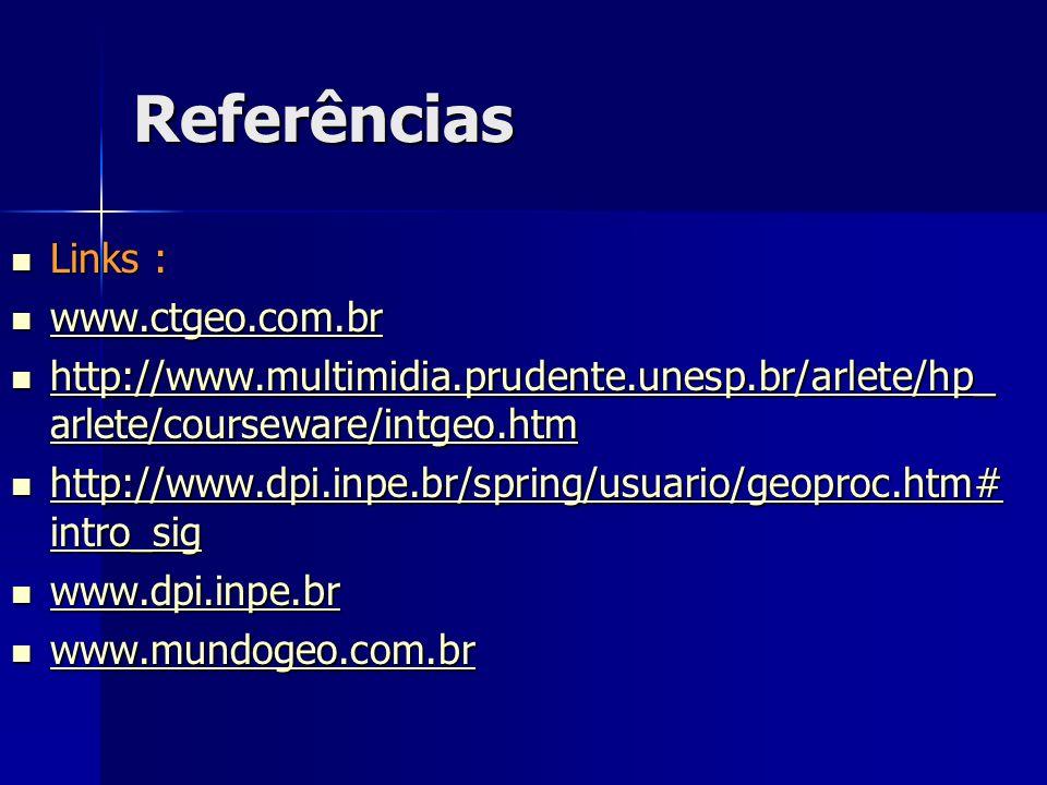 Referências Links : www.ctgeo.com.br