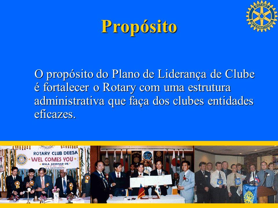 PropósitoO propósito do Plano de Liderança de Clube é fortalecer o Rotary com uma estrutura administrativa que faça dos clubes entidades eficazes.
