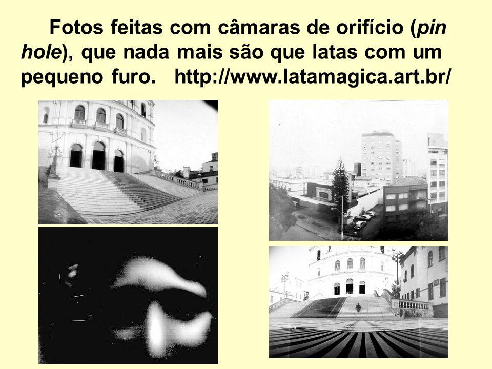 Fotos feitas com câmaras de orifício (pin hole), que nada mais são que latas com um pequeno furo.